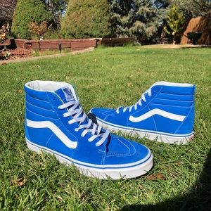 Blue and white suede high top vans!